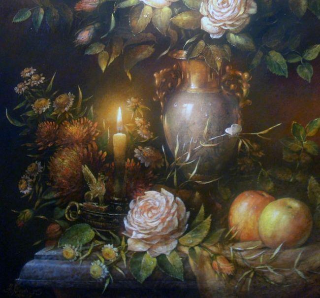 Натюрморт со свечой(вариант, фрагмент